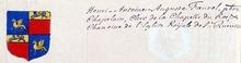VOLUMES RELIES du Cabinet des titres : recherches de noblesse, armoriaux, preuves, histoires généalogiques. Armorial général de France, dressé, en vertu de l'édit de 1696, parCharles D'HOZIER. (1697-1709). XXXV Versailles.  page 108